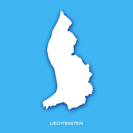 Liechtenstein map silhouette in paper cut style on blue background. Country in Europe.