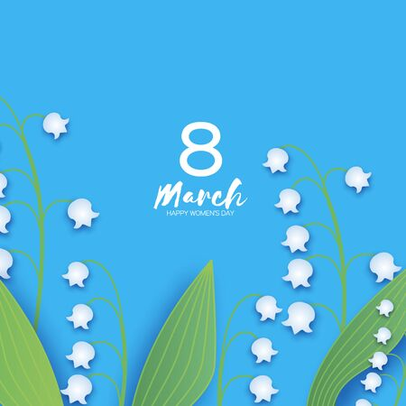 Lilies-of-the-valley. 8 March. Beautiful white Flowers. Origami layered Floral bouquet. Happy Womens Day, Mothers Day or Birthday. Spring. Paper cut style. Floral blossom. Text on blue. Vector Ilustracja