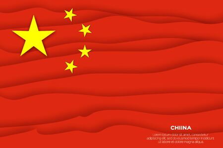 China flag in paper cut style. Chinese national flag. Ilustracja