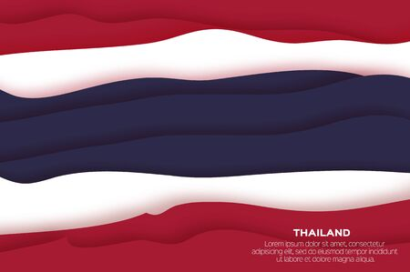 Flag of Thailand in official colors in paper cut style.