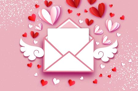 Origami Red, White hearts. Valentines postcard with wings in paper cut style. Romantic Holidays. Love. 14 February.