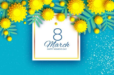 Yellow Mimosa. Beautiful origami silver wattle branches. Original Floral bouquet. Happy Womens Day, Mothers Day or Birthday. 8 March. Spring. Paper cut style. Square frame. Blue background. Ilustracja