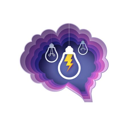 Brain and lightning lamps. Light bulb in paper craft style. Origami Electric bulb for creativity, startup, brainstorming, business. Circle purple layered frame. Vector.