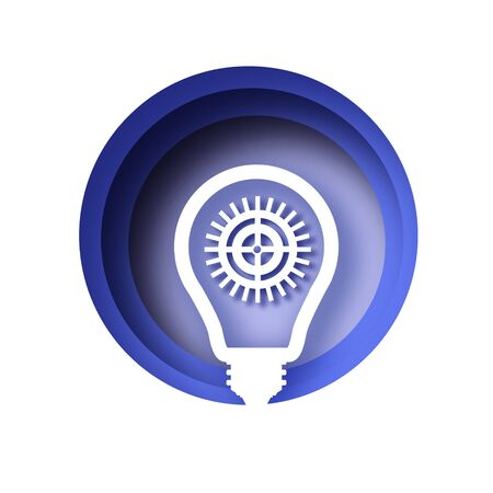 Light bulb and cog inside in paper cut style. Origami Electric bulb with gears and cogs working together. Concept of a business idea. Teamwork. Strategy. Cooperation. Blue circle frame.