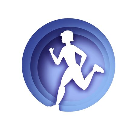 White origami young lady running. Happy fitness woman in paper cut style. Woman runner in silhouette on white background. Jogging. Dynamic movement. Side view. Light purple circle frame.