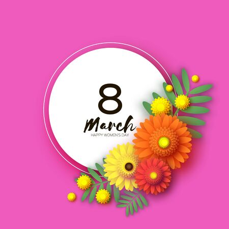 Beautiful Gerbera Flowers. Yellow Mimosa. Silver wattle branches with leaves. Origami layered Floral bouquet. Happy Womens Day, Mothers Day or Birthday. 8 March. Spring. Circle frame. Paper cut style.