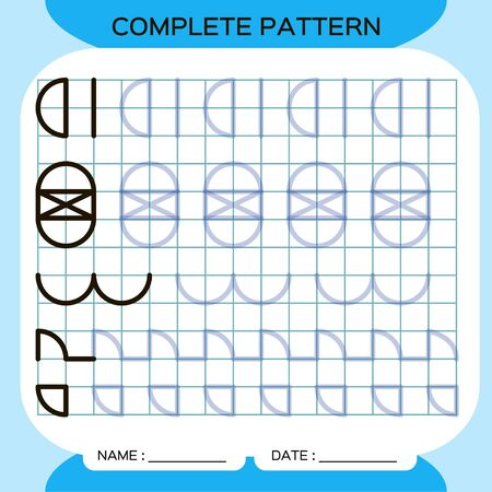 Complete pattern. Tracing Lines Activity For Early Years. Preschool worksheet for practicing fine motor skills. Tracing lines. Improving skills tasks. Dark Blue. Ilustracja