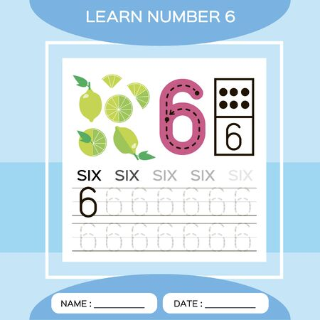 Learn number 6. Six . Children educational game. Kids learning material. Lets Trace number 6 and write. Counting game. Blue background. Lime. Ilustracja