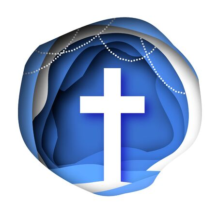 He Is Risen. Easter Banner. Christian cross in paper cut style on blue background. Circle wave cave frame. Ilustracja