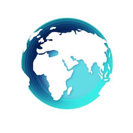 World Map Globe in blue circle paper cut frame.