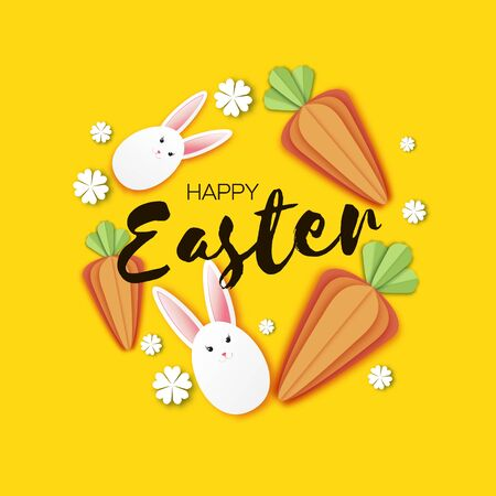 Cute Easter bunnies and carrots. Happy Easter in paper cut style. Spring on yellow. Space for text. Ilustracja