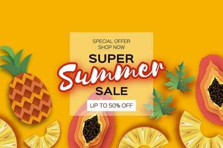 Whole and Sliced Pineapple and Half Cut Papaya in paper cut style on yellow background. Summer sale banner. Fresh fruit time. Space for text. Square frame. Ilustracja