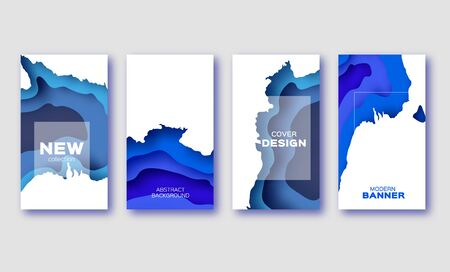 Trendy Blue Paper Cut Layered Shapes Banner. Origami layered curve design for business presentations, flyers, posters. Abstract map carving. Space for Text.