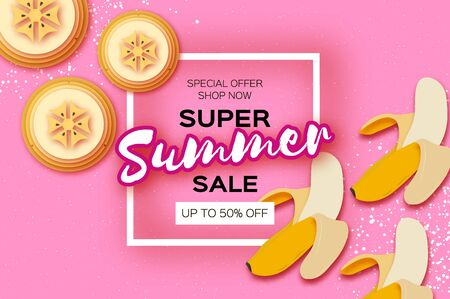 Banana Super Summer Sale Banner in paper cut style on pink background. Yellow fresh fruits. Nature.