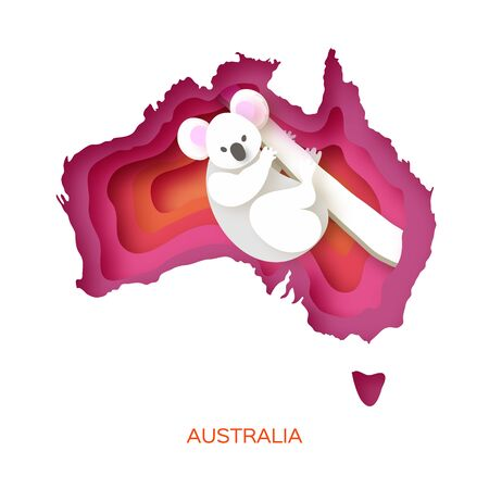 Map of Australia in paper cut style. Young koala. Australian bear. Eucalyptus or gum tree. Orange pink layered world.