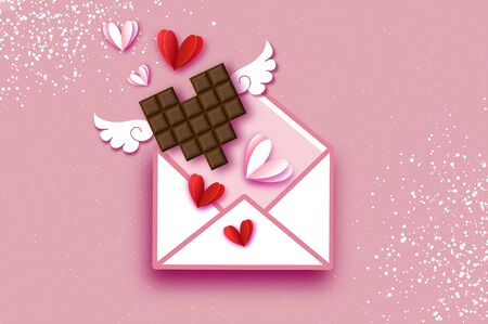 Love Chocolate. Valentines Day Greeting Card. Red white hearts paper cut style and dessert, chocolate, candy on coral. Origami Happy holidays. 14 February. Valentines postcard with wings. Ilustracja