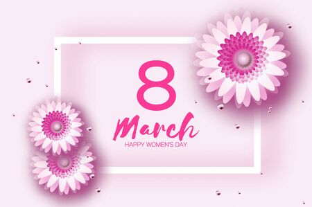 Beautiful Pink Gerbera Flowers. Origami layered Floral bouquet. Happy Womens Day, Mothers Day or Birthday. 8 March. Spring. Paper cut style. Floral blossom. Rectangle frame for Text. Ilustracja