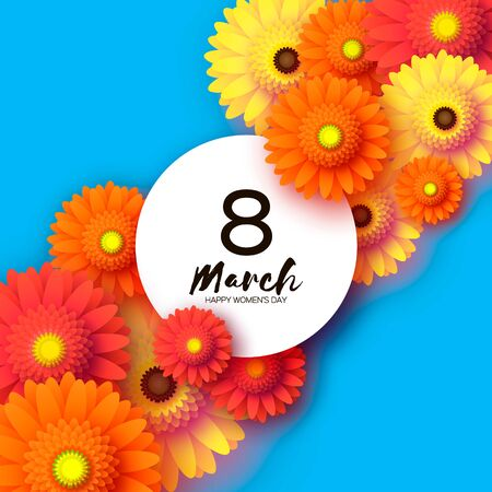 Beautiful Gerbera Flowers. Origami layered Floral bouquet. Happy Womens Day, Mothers Day or Birthday. 8 March. Spring. Paper cut style. Yellow,orange,red floral blossom. Circle frame for Text on blue.