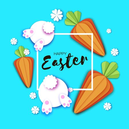Cute White Easter bunnies and carrots. Rabbit booty. Happy Easter in paper cut style. Spring blue. Frame for text.