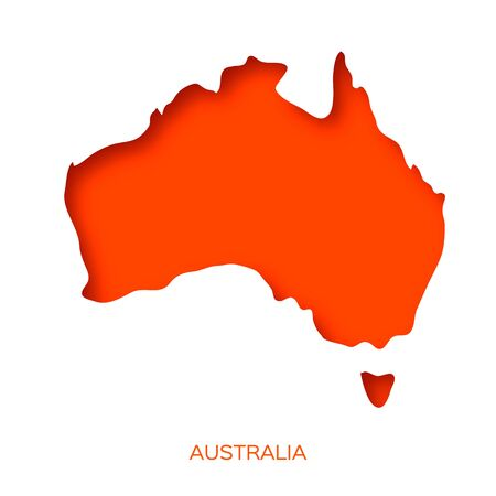 Map of Australia in paper cut style. Orange layered world on white.