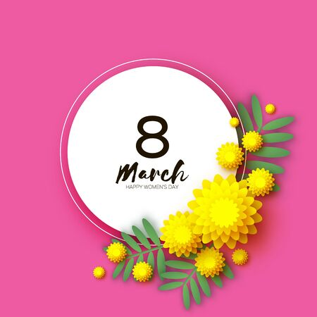 Yellow Mimosa. Beautiful origami silver wattle branches. Original Floral bouquet. Happy Womens Day, Mothers Day or Birthday. 8 March. Spring. Paper cut style. Circle frame. Pink background.