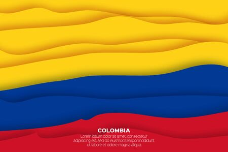 Colombia flag in paper cut style. Yellow, Blue and Red color. Ilustracja