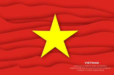 Vietnam Flag in official colors in paper cut style. Vector