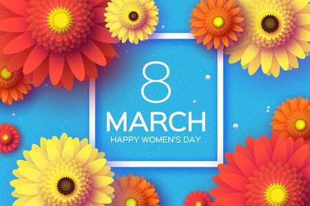 Beautiful Gerbera Flowers. Origami layered Floral bouquet. Happy Womens Day, Mothers Day or Birthday. 8 March. Spring. Paper cut style. Yellow,orange,red floral blossom. Square frame for Text on blue. Çizim