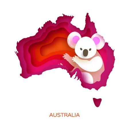Map of Australia in paper cut style. Young koala. Australian bear. Eucalyptus or gum tree. Orange pink layered world.
