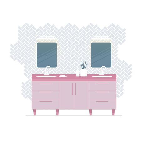 Modern white bathroom interior. Double sink and two mirrors. Flat style on white. Illustration