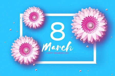 Beautiful White Pink Gerbera Flowers. Origami layered Floral bouquet. Happy Womens Day, Mothers Day or Birthday. 8 March. Spring. Paper cut style. Floral blossom. Rectangle frame for Text on blue. Vector Illustration