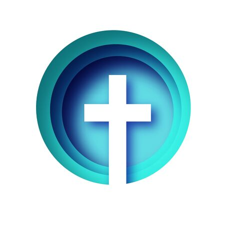 Easter Banner. Christian cross in paper cut style on blue background. Circle frame.