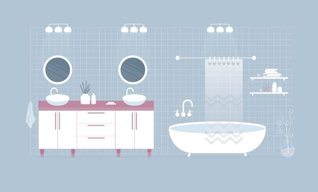 Modern white bathroom interior. Double sink and two circle mirrors. Bath with shower. Flat style. Illustration