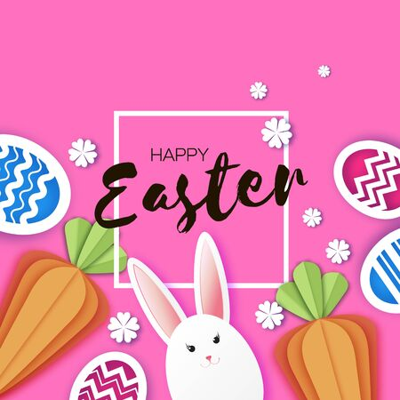 White Easter rabbit. Easter Bunny. Colorful egg hunt. Carrots. Happy Easter in paper cut style. Spring on pink. Frame for text.