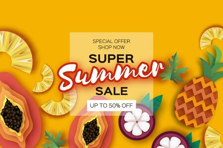Whole and Sliced Pineapple and Half Cut Papaya in paper cut style on yellow background. Fresh fruit time. Summer sale banner. Space for text. Square frame.