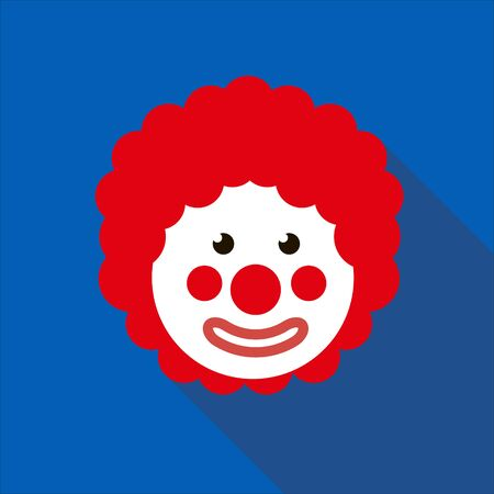 Funny Clown with red hair wig. 1 April Fools day. Blue background. Flat style. Illustration