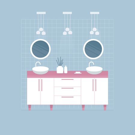 Modern white bathroom interior. Double sink and two circle mirrors. Flat style.