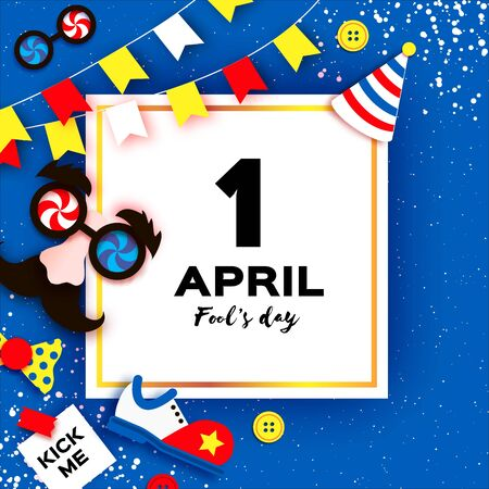 1 April Fools day. Funny Crazy Mask Glasses. Kick me prank paper sticker. Clown shoes and bow in paper cut style on blue. Vettoriali