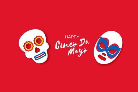 Cinco De Mayo Banner with skull and luchador mask in paper cut style. Red background. Space for text.