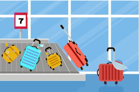 Suitcases on airport luggage conveyor belt. Travel bag. Summer time. Holidays. Vacation trip. Rest trip. Luggage band on the airport. Vektorgrafik