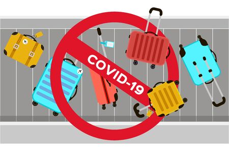 Suitcases on airport luggage conveyor belt. Travel bag. Stop risk. Holidays. Vacation trip. Stop Covid-19. Spread prevention. Stay home. dangerous virus. Fla Ilustrace
