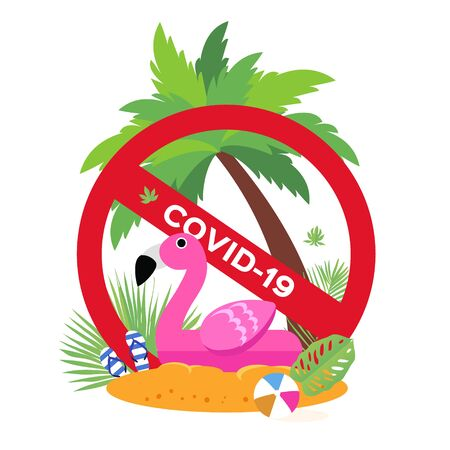 Flamingo bird float on the beach. Travel bag with hat. Stop risk. Holidays. Vacation trip. Stop Covid-19. Spread prevention. Stay home. dangerous virus. Flat