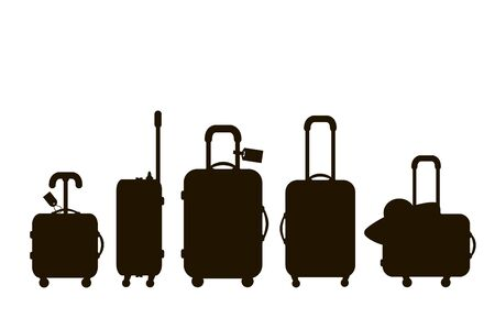 Suitcases silhouette. Travel bag. Summer time. Holidays. Vacation trip. Rest trip