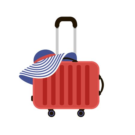Red Travel Suitcases. Woman summer hat. Time to Travel. Trip to World. Vacation. Holidays. Travel banner. Front view. Modern flat design