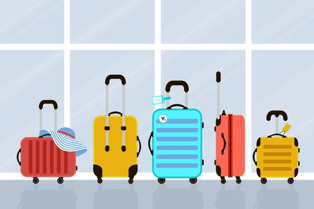 Suitcases on airport. Travel bag. Summer time. Holidays. Vacation trip. Rest trip. Windows.