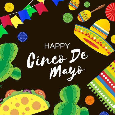 Happy Cinco de Mayo Banner in paper cut style. Origami Fan, tacos. Cactus and sombrero. Mexico, Carnival.Space for text. Black background.
