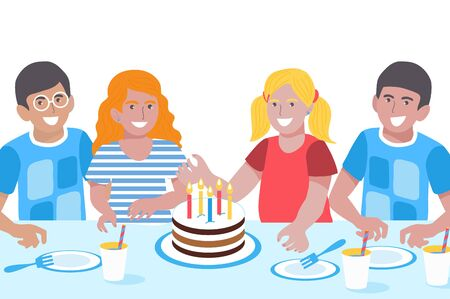 Birthday Children. Cute Girls and Boys. Happy Smiling Kids Greeting Card. Birthday party. Sweet cake.