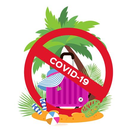 Suitcase on the beach. Travel bag with hat. Stop risk. Holidays. Vacation trip. Stop Covid-19. Spread prevention. Stay home. dangerous virus. Flat