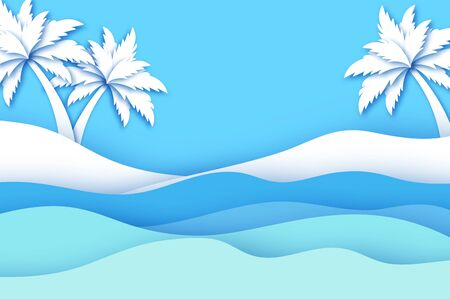 Seaside landscape in paper cut style. Nobody under the palms tree on Seashore. Origami layered. Waves. Time to travel. Tropical summer holidays. Blue and white. Vector.