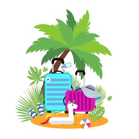 Suitcases on the beach. Travel bag with hat on the sunny beach. Giant inflatable White Unicorn. Flipflop, ball and palm. Summer holidays. Sunny days. Holidays. Time to travel. Weekend. Flat. Vector